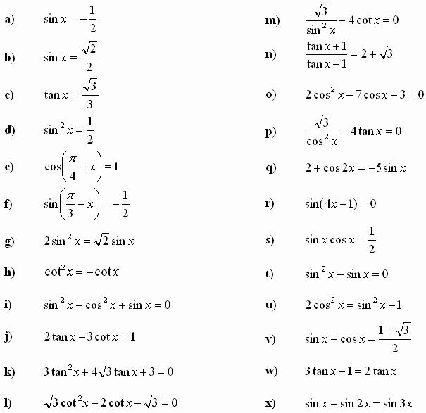 Solving Trig Equations Worksheet Awesome solving Trigonometric Equations Worksheet