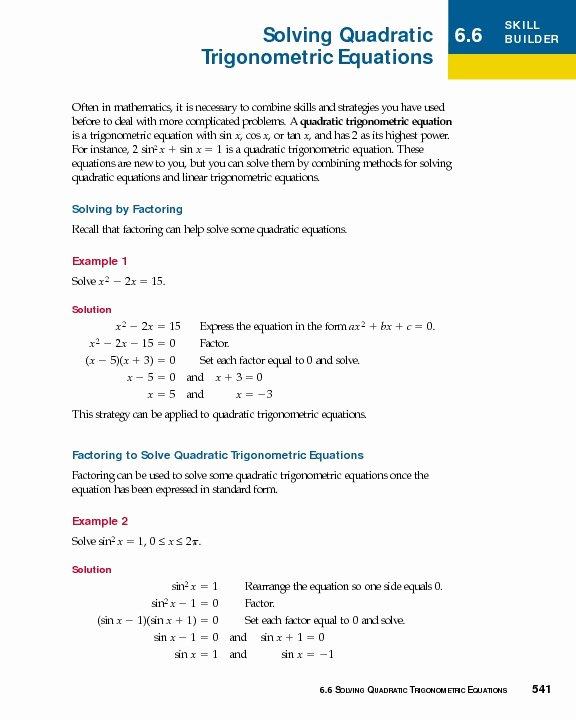 Solving Trig Equations Worksheet Fresh solving Quadratic Trigonometric Equations Worksheet for