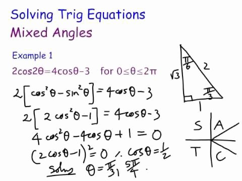 Solving Trig Equations Worksheet Fresh solving Trigonometric Equations Mixed Angles