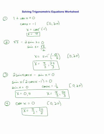 Solving Trig Equations Worksheet Inspirational Trig Equations Worksheet 5 1 Name solve for 0≤x