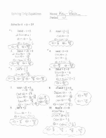Solving Trig Equations Worksheet Inspirational Trig Equations Worksheet
