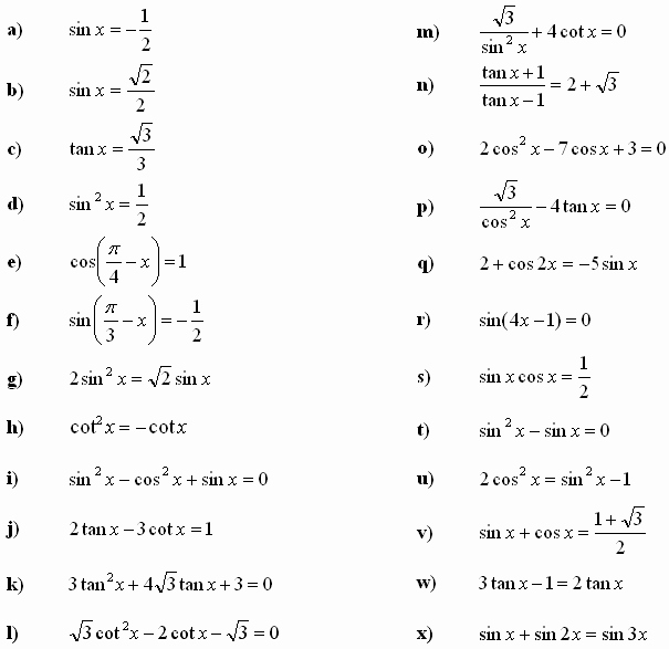Solving Trig Equations Worksheet Luxury Math Exercises & Math Problems Trigonometric Equations