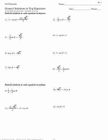 Solving Trig Equations Worksheet Unique solving Trigonometric Equations Worksheet