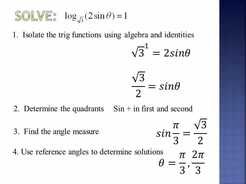 Solving Trigonometric Equations Worksheet Answers Inspirational solving First Degree Trigonometric Equations Worksheet
