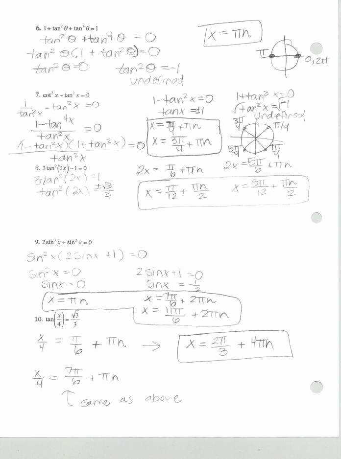 Solving Trigonometric Equations Worksheet Answers Inspirational solving Trigonometric Equations Worksheet