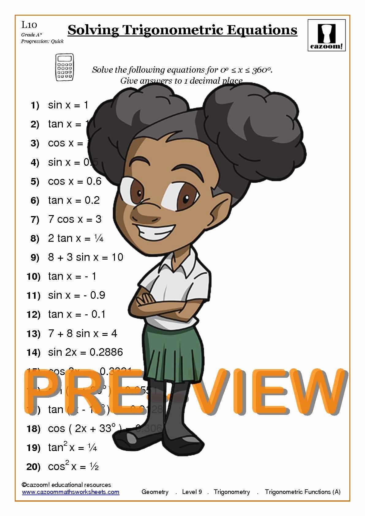 Solving Trigonometric Equations Worksheet Answers Inspirational Trigonometry Worksheets with Answers