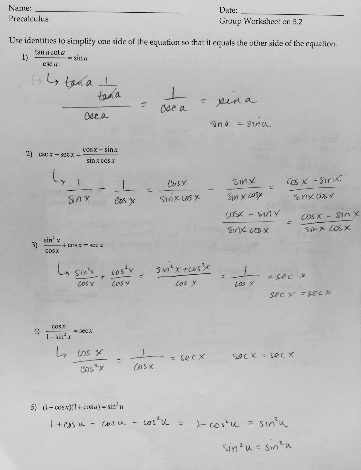 Solving Trigonometric Equations Worksheet Answers Luxury Precalculus 441 solving Trigonometric Equations Worksheets