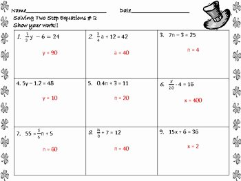 Solving Two Step Equations Worksheet Awesome solving Two Step Equations Worksheets St Patrick S Day by