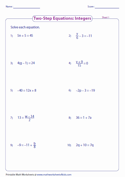 Solving Two Step Equations Worksheet Awesome Two Step Equation Worksheets