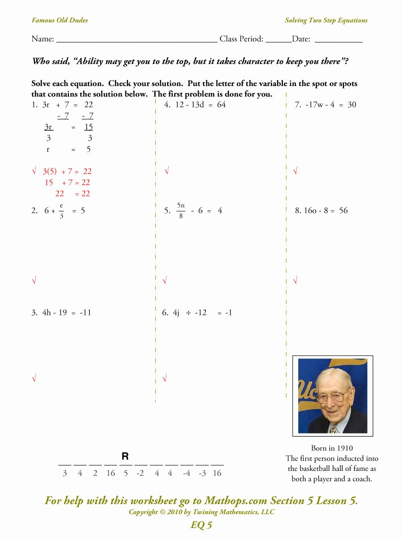 Solving Two Step Equations Worksheet Best Of Eq05 solving Two Step Equations Mathops