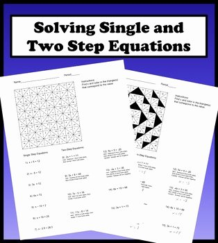 Solving Two Step Equations Worksheet Fresh solving Single and Two Step Equations Color Worksheet by