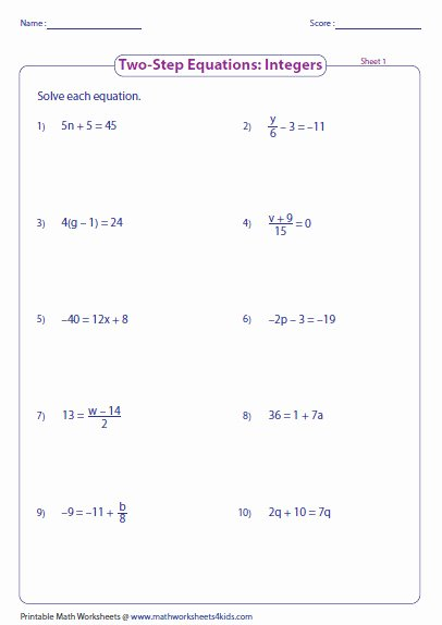 Solving Two Step Equations Worksheet Inspirational solving Two Step Equations Worksheet