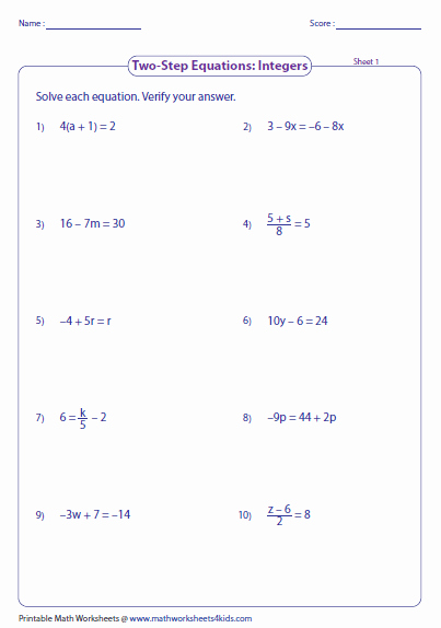 Solving Two Step Equations Worksheet Lovely Two Step Equation Worksheets