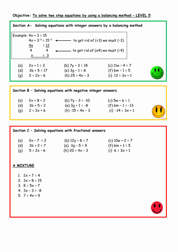 Solving Two Step Equations Worksheet Luxury solve Two Step Equations by Balancing by Aingarth