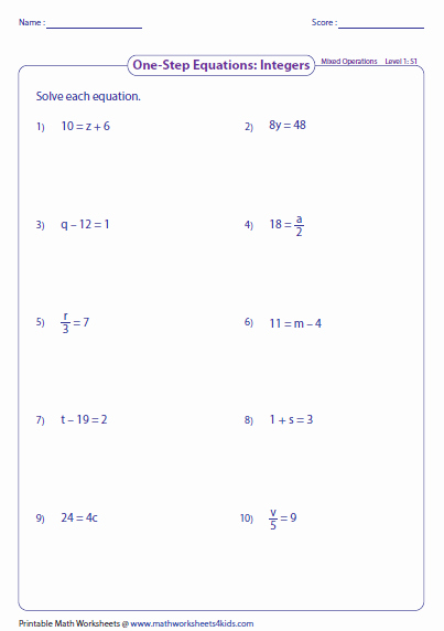 Solving Two Step Equations Worksheet Unique E Step Equation Worksheets