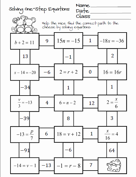 Solving Two Step Equations Worksheet Unique October 2015