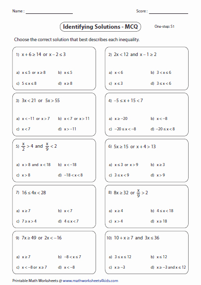 Solving Two Step Inequalities Worksheet Lovely Pound Inequalities Worksheets