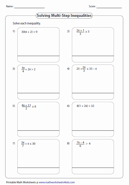 Solving Two Step Inequalities Worksheet New Multi Step Inequalities Worksheets