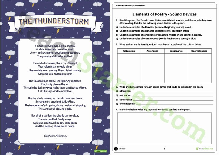 Sound Devices In Poetry Worksheet Awesome Elements Of Poetry Workbook Teaching Resource