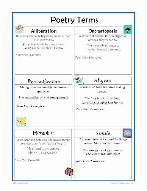 Sound Devices In Poetry Worksheet Awesome Free Poetry Terms Worksheet Great for the Writing