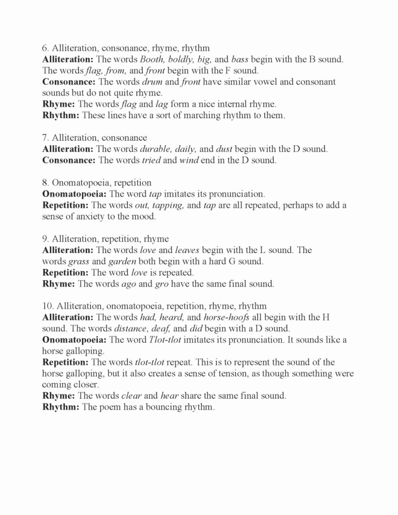 Sound Devices In Poetry Worksheet Luxury Awesome Poetic Devices Worksheet Answers E Of Several
