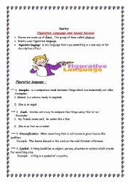 Sound Devices In Poetry Worksheet Luxury English Teaching Worksheets Figurative Language