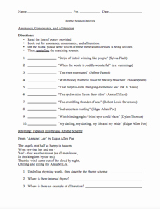 Sound Devices In Poetry Worksheet Unique Poetic sound Devices Worksheet for 9th 12th Grade