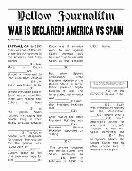 Spanish American War Worksheet Fresh Yellow Journalism Mad Libs