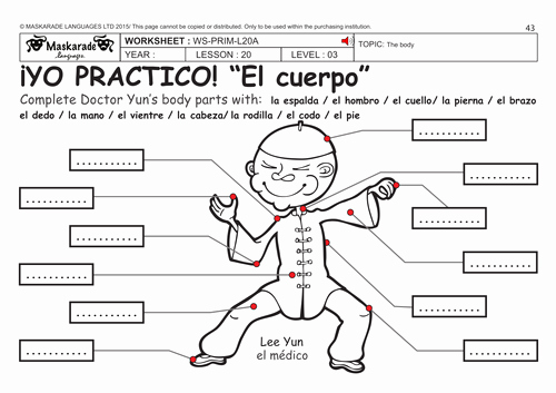 Spanish Body Parts Worksheet Awesome Spanish Ks2 Level 3 Ks3 Year 7 Describing the Body