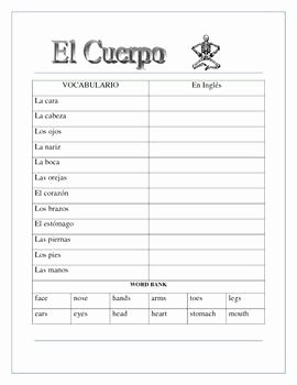 Spanish Body Parts Worksheet Best Of El Cuerpo El Esqueleto Label the Skeleton & Body Parts
