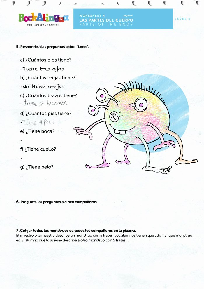 Spanish Body Parts Worksheet Luxury Spanish Worksheet to Teach Parts Of the Body