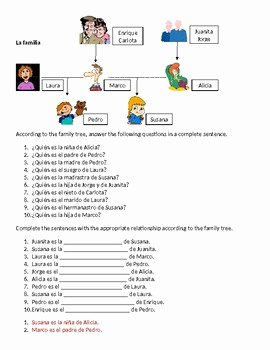 familia family in spanish family tree worksheet 1
