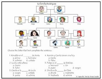 Spanish Family Tree Worksheet Inspirational La Familia Family Tree and Worksheets by Tapas for Two
