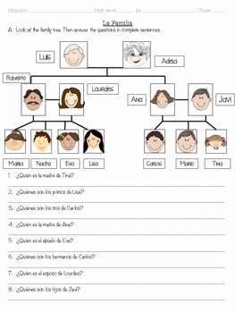 Spanish Family Tree Worksheet Inspirational La Familia the Family Spanish Vocabulary by Señorita Lugo