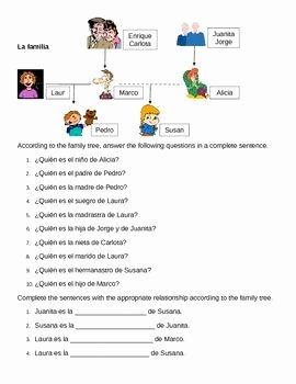 Spanish Family Tree Worksheet Unique Familia Family In Spanish Family Tree Worksheet 1