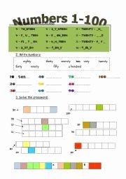 Spanish Numbers Worksheet 1 100 Elegant English Teaching Worksheets Numbers 1 100