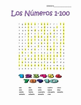 Spanish Numbers Worksheet 1 100 Elegant Spanish Numbers Numeros 1 100 Word Search Puzzle by