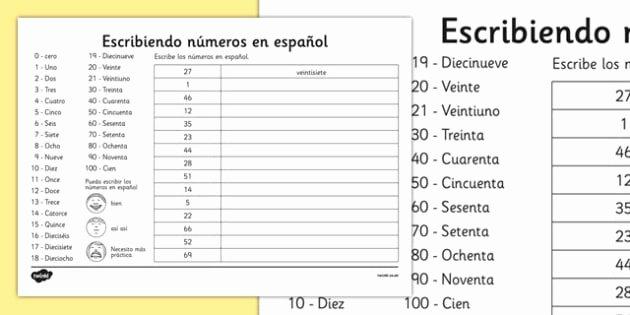 Spanish Numbers Worksheet 1 100 Elegant Writing Spanish Numbers Worksheet Spanish Languages