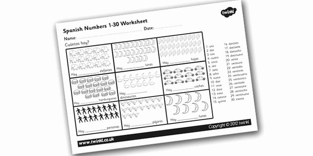 Spanish Numbers Worksheet 1 100 Inspirational 8 Best Of Spanish Numbers to 30 Worksheet Spanish