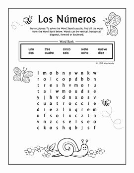 Spanish Numbers Worksheet 1 100 Inspirational Los Numeros Spanish Numbers 1 10 Word Search Puzzle