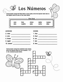 Spanish Numbers Worksheet 1 100 Lovely Los Numeros Spanish Numbers 1 10 Crossword Puzzle