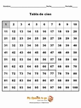Spanish Numbers Worksheet 1 100 Lovely Numbers Spanish 1 100 Worksheet with Hundreds Chart Fun
