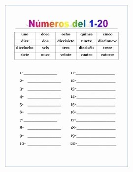 Spanish Numbers Worksheet 1 100 New Spanish Numbers From 0 to 100 & Thousands Writing