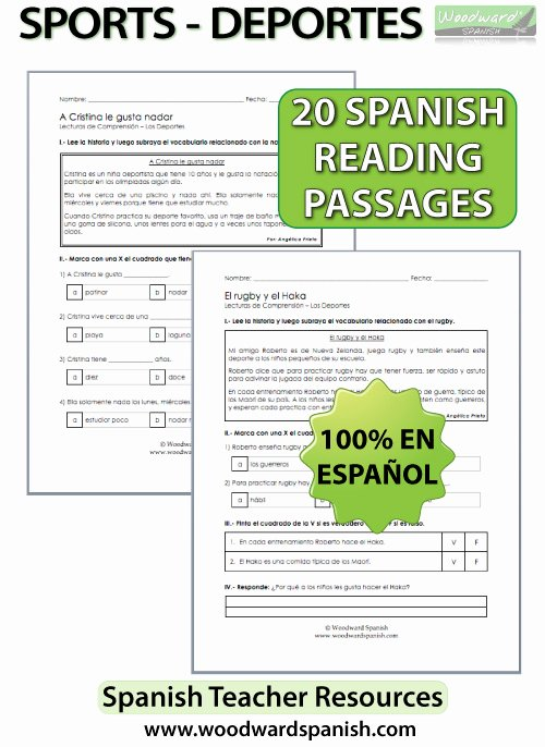 Spanish Reading Comprehension Worksheet Beautiful Sports – Spanish Reading Passages and Prehension