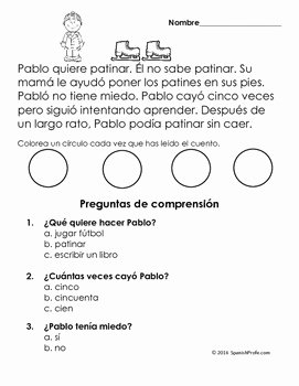 Spanish Reading Comprehension Worksheet Best Of Easy Reading Prehension Passages Spanish Invierno