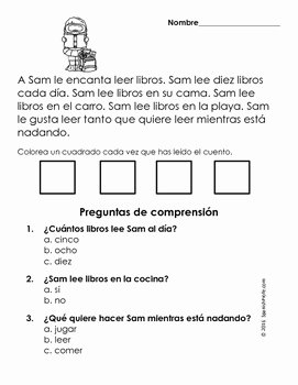 Spanish Reading Comprehension Worksheet Best Of Easy Reading Prehension Passages Spanish Verano