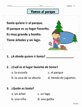 Spanish Reading Comprehension Worksheet Best Of Reading Prehension Passages Kinder 1st Grade Lecturas