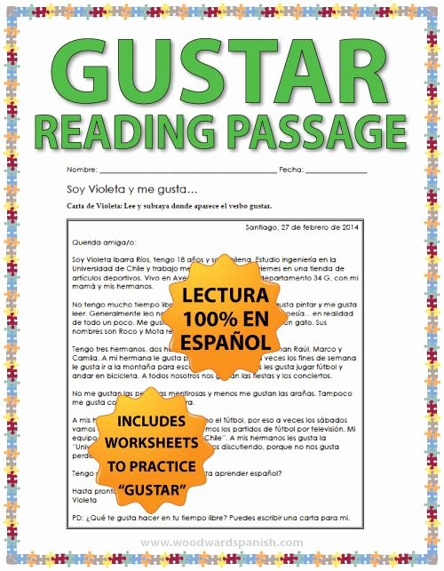 Spanish Reading Comprehension Worksheet Fresh Gustar Spanish Reading Passage and Worksheets
