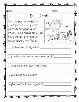 Spanish Reading Comprehension Worksheet Fresh Spanish Reading Prehension Passages and Questions