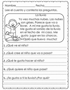 Spanish Reading Comprehension Worksheet Inspirational Short Reading Prehension Passages In Spanish April by